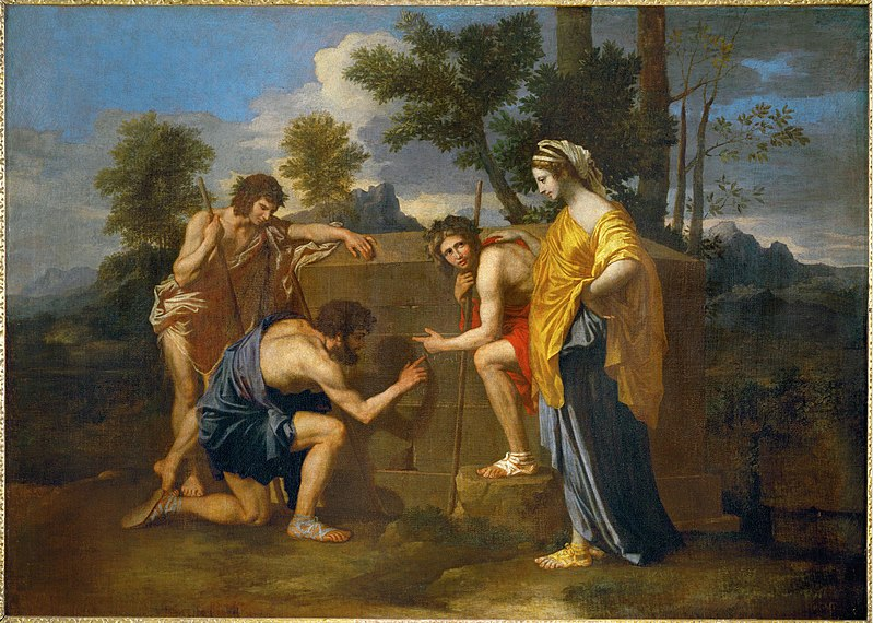 Nicolas Poussin painting Et in Arcadia ego, in which a man kneels to three other men