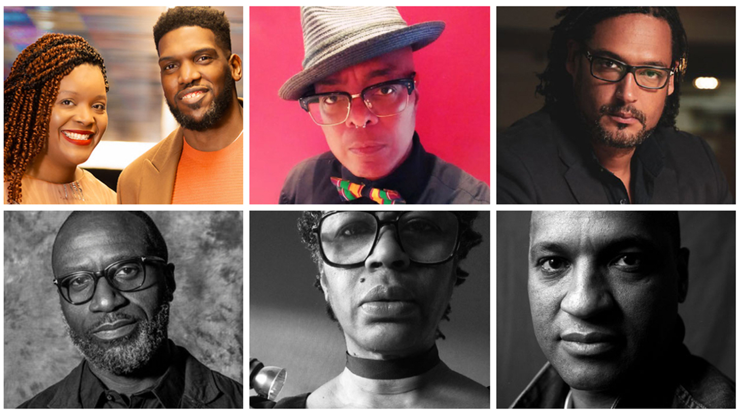 (From top, left – right:We Are Parable, Campbell X,David Olusoga, George Amponsah, Judah Attille, Mark Sealy (Image courtesy of Steve Pyke).