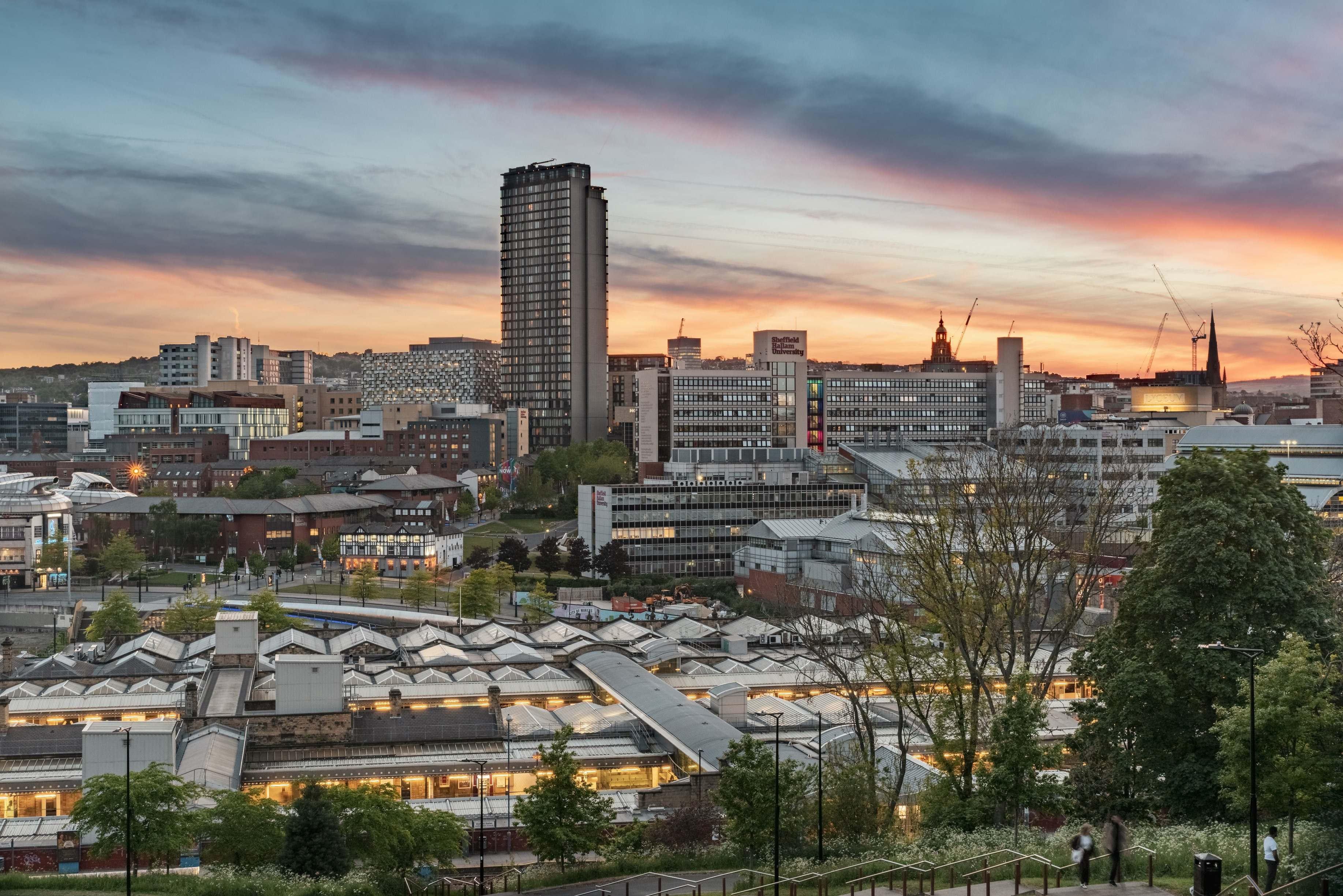 Looking over Sheffield city centre at dusk