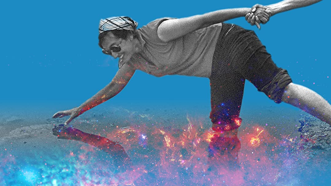 Black and white image of a woman leaning forward and standing on one foot. Her hand is being held by a figure out of frame. The image is collaged over a colourful image of constellations.