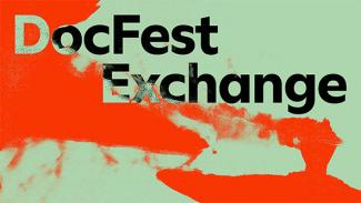 Red and green abstract graphic image reads 'DocFest Exchange'