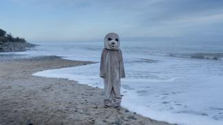 Still from the film From the Wild Sea (2021) Robin Petré. A human dressed in a seal costume stands on a beach.