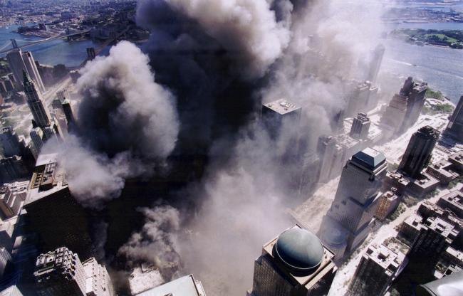 Aerial view of 9/11